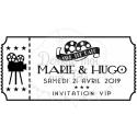"""Tampon mariage personnalisé """" Ticket Cinéma"""" - 6x3,5 cm"""
