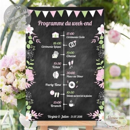 """Tableau Programme Mariage """"Ardoise champêtre"""" personnalisé"""