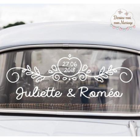 """Stickers de voiture mariage personnalisé - """"Ornements coeur"""""""