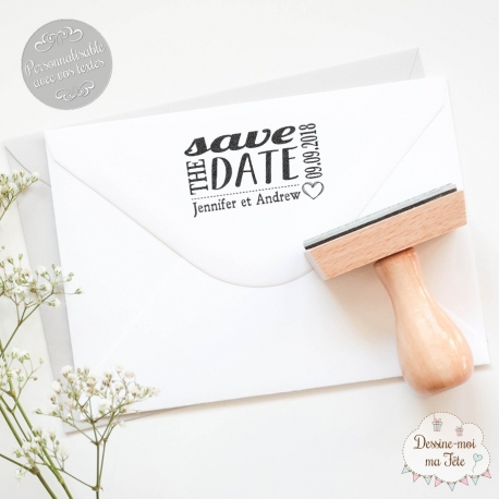 "Tampon mariage personnalisé - ""Save the date 2"""