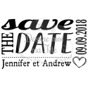 "Tampon mariage personnalisé - ""Save the date 2"" - 6 x 3,5 cm"