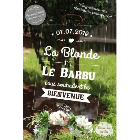 """Tableau de bienvenue mariage """"La blonde et le barbu"""" Plexiglass"""