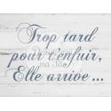 """Pancarte Mariage """"Trop tard pour t'enfuir, elle arrive""""- bois blanc sans personnalisation"""