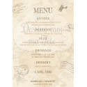 """Menu Chevalet """"Voyage vintage"""" personnalisé"""