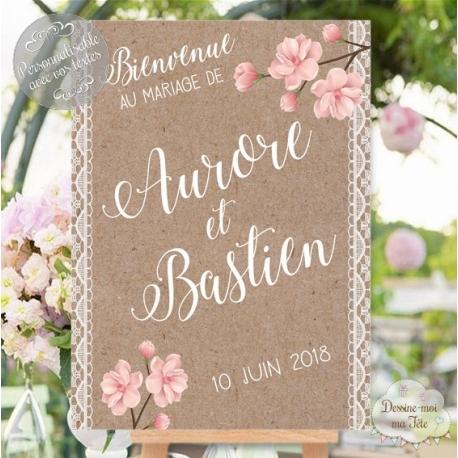 Tableau de Bienvenue Mariage Bohème / Romantique personnalisé