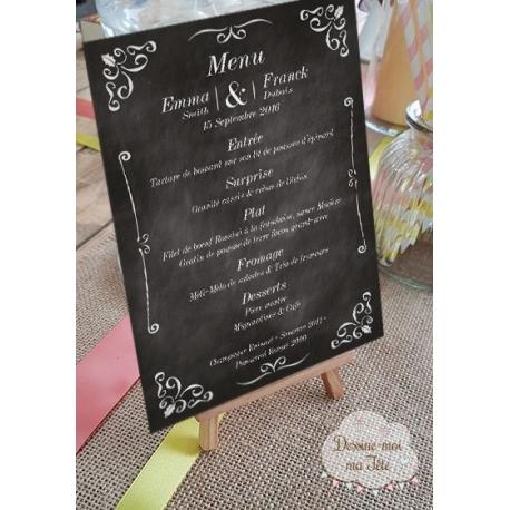 """Porte-menu Chevalet """"Ardoise"""" personnalisé"""