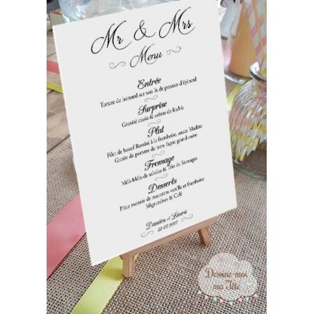 """Porte-menu Chevalet """"couple mariés"""" personnalisé"""