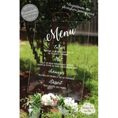 Tableau avec menu de mariage Plexiglass 1