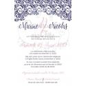 Faire part de Mariage ciselé - Pochette rose et bleu