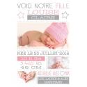 """RECTO Faire part de naissance fille - """"Minimaliste fille"""""""