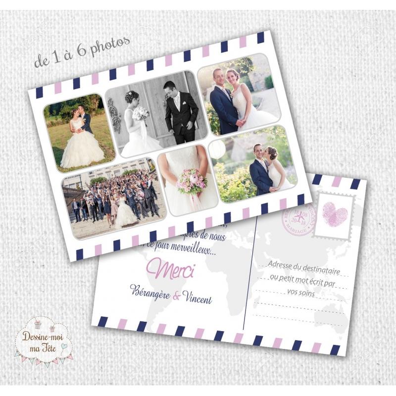 Cartes de remerciements Mariage - Voyage / carte postale