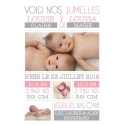 """RECTO- Faire part de naissance fille - """"Minimaliste Jumelles"""""""