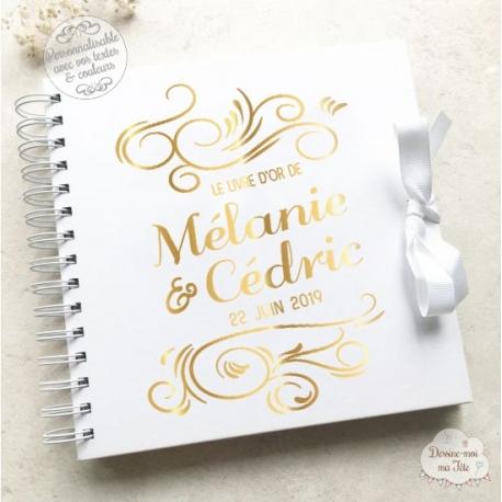 Livre D Or Blanc De Mariage Arabesque A Personnaliser Pour Mariage