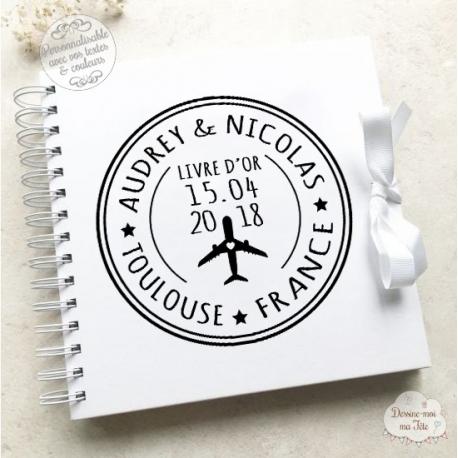 Livre D Or Mariage Blanc Voyage A Personnaliser Pour Votre Mariage