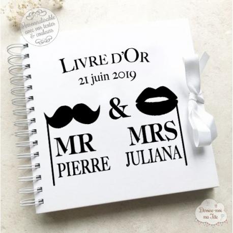 """Livre d'Or mariage - """"Mr & Mrs"""" - à personnaliser pour votre mariage"""