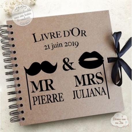 """Livre d'Or mariage kraft - """"Mr & Mrs"""" - à personnaliser pour votre mariage"""