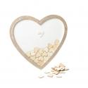 Livre d'Or mariage Cadre en bois forme de coeur + 60 coeurs en bois