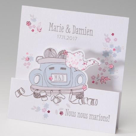 Faire part de Mariage - Voiture de mariés