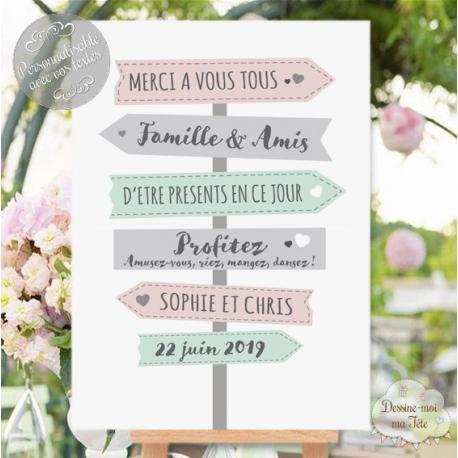"""Tableau de Bienvenue Mariage """"Merci - Panneaux directionnels"""" personnalisé"""