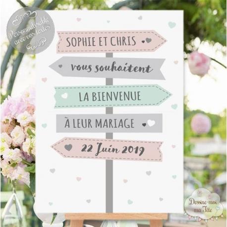 """Tableau de Bienvenue Mariage """"Panneaux directionnels"""" personnalisé"""