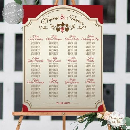 """Plan de table Mariage """"Les vins & Vignobles"""" personnalisé"""