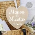 Coeur en bois avec prénoms - pancarte bois mariage personnalisée