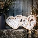 Livre d'Or mariage Cadre en bois double coeur + 60 coeurs en bois
