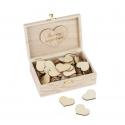 Livre d'Or mariage boite en bois + 96 coeurs en bois