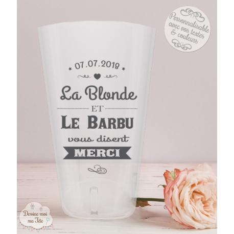"""Gobelet mariage personnalisé - """"La blonde et le barbu"""""""