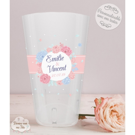 """Gobelet mariage personnalisé - """"fleurs champêtre"""""""