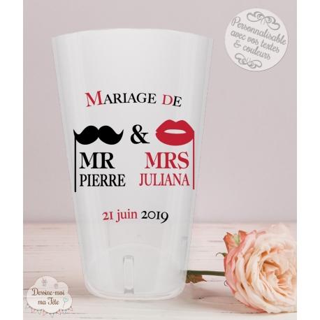 """Gobelet mariage personnalisé - """"Mr & Mrs"""""""