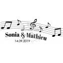 Sticker pour voiture des mariés - thème Musique