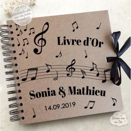 Livre d'Or mariage kraft - Musique - à personnaliser pour votre mariage