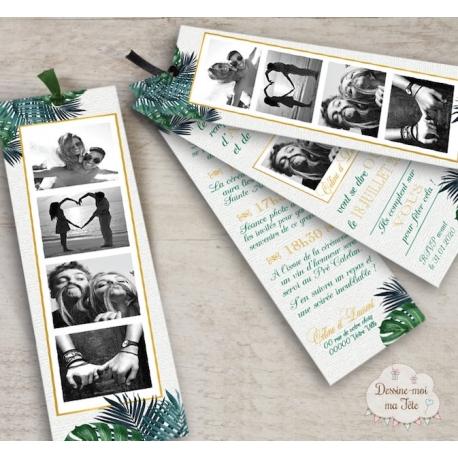 Faire part de Mariage Marque page - Tropique Chic