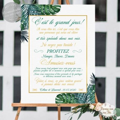 Tableau de Bienvenue Mariage - Merci Tropiques Chic - personnalisé