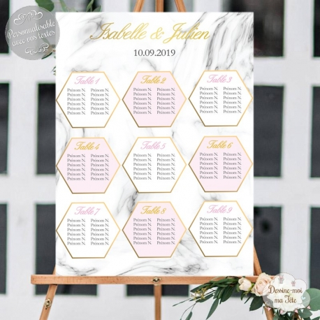 Plan de table de mariage - imitation marbre