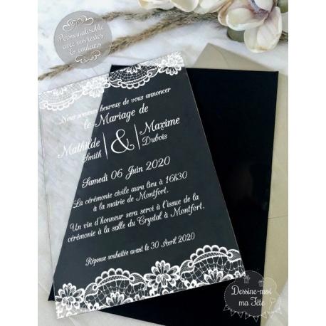 Faire part de Mariage plexi acrylique - Dentelle / Bohème blanc