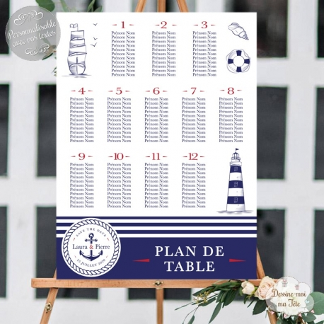 Plan de table Mariage - La mer / Marin personnalisé