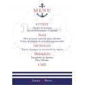 "Porte-Menu Chevalet ""Marin / La mer"" personnalisé"