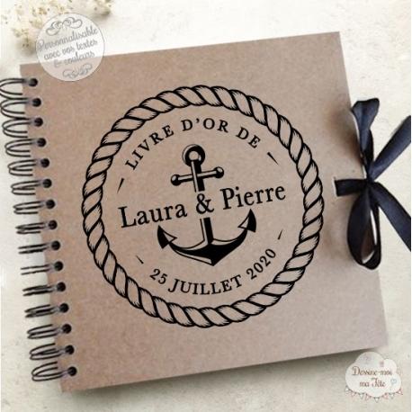 Livre d'Or mariage kraft - Marin - à personnaliser pour votre mariage