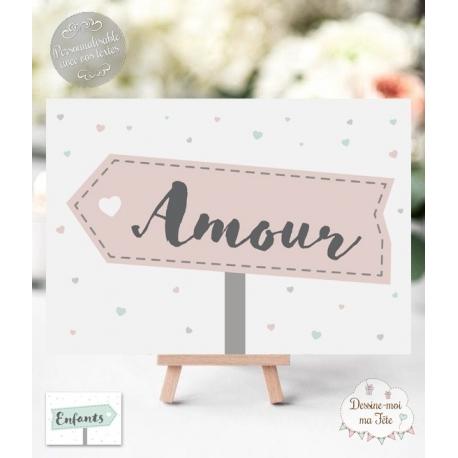 """Marque-table """"Panneau de direction"""" personnalisé"""