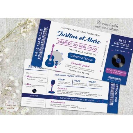 Faire part de Mariage - Ticket de concert - faire part mariage musique