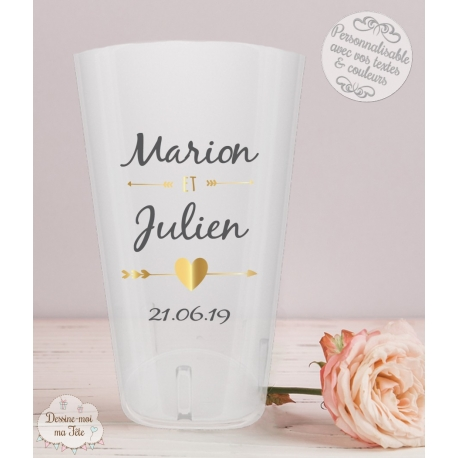 "Gobelet mariage personnalisé - ""Flèches & coeur"""