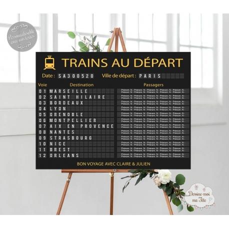 """Plan de table Mariage """"Panneau gare - Départ des trains"""" personnalisé"""
