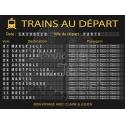 """Plan de table Mariage """"Panneau gare - Départ des trains"""" VERSION NOIRE"""