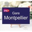 """Marque-table Chevalet """"Panneau nom de gare"""" personnalisé"""