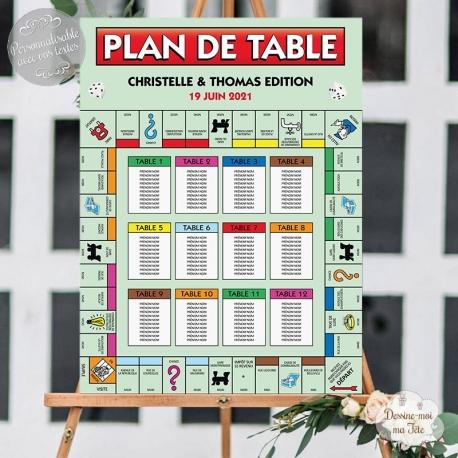 """Plan de table Mariage """"Monopoly / jeux de société"""" personnalisé"""