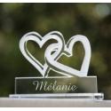 """Marque-place plexiglass transparent """"Double coeur"""" personnalisé"""