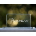 """Marque-place plexiglass transparent """"Rectangle"""" personnalisé"""
