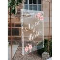 Tableau de bienvenue mariage Plexiglass transparent - Bohème